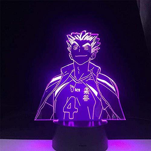 Luz de ilusión LED Lámpara de Anime Bokuto Haikyuu Naruto Figura Luz de noche Lámpara de acrílico 3D para decoración de dormitorio de niños Regalo de colores claros de anime