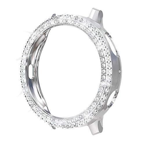 DLCYMY Moda de dos filas de diamante PC parachoques para Galaxy Watch Active 2 Case 40mm 44mm Active2 mujeres Bling Thin Cover Accesorios (Color: Plata, Diámetro de la esfera: Para Active2 40mm)