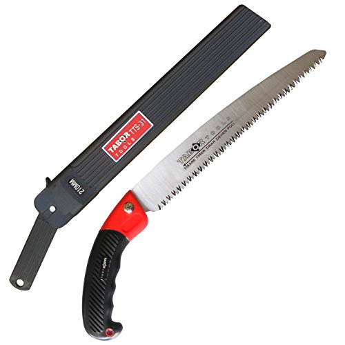 TABOR TOOLS Pruning Saw with Sheath, 8 Inch Hand Saw with Straight Blade and Holster, Suitable for Trimming Tree Branches and Clearing Forest Trails.TTS31A. (8 Inch, Straight Blade)