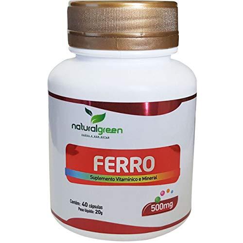 Ferro Suplemento Natural Green 40 Cápsulas de 500 mg