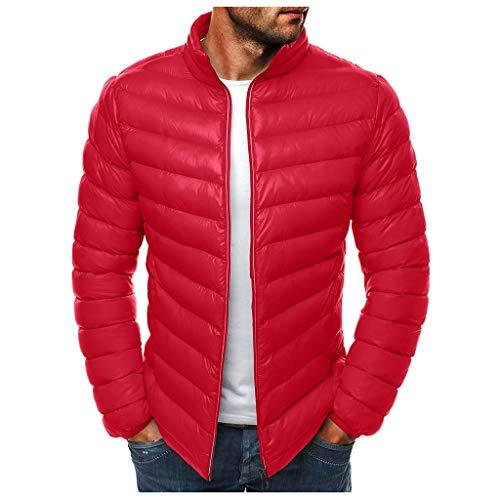 LuckycatDD Abrigo de invierno por la chaqueta acolchada chaqueta abajo al aire caliente de cuello alto para Hombres SG rojo