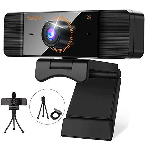 2K Webcam mit Mikrofon 1440p Web-Kamera für PC USB Webcam für Laptop Desktop Computer Mac Windows Linux Webcam mit Stativ für Videoanruf Live-Streaming Konferenz Online-Unterricht Online Kurs Spiel