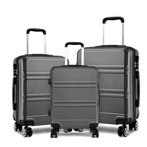 Kono Fashion Luggage Set of 3 PCS Lightweight ABS Hard Shell Trolley Travel Case with 4 Spinner Wheels 20' 24' 28' Suitcase (3 Pcs Set, Grey)