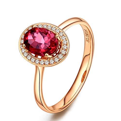 AueDsa Anillos Oro Rosa Anillo de Oro Rosa para Mujer 18 K Oval Turmalina Roja Blanca 0.8ct Anillo Talla 11