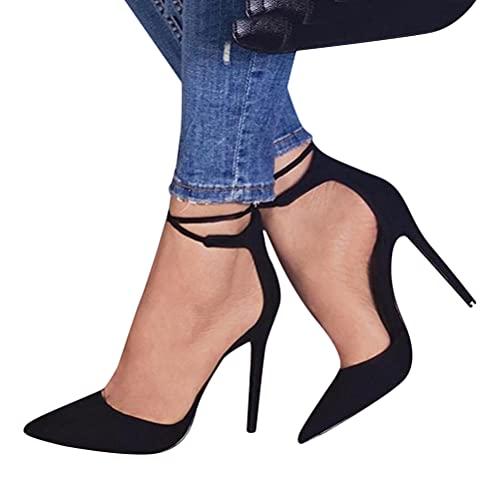 Minetom Damen Stiletto High Heels Pumps Spitz Party Basic Schuhe Geschlossen Schnürsenkel Wildleder Sandalen Abendschuhe A Schwarz 38 EU