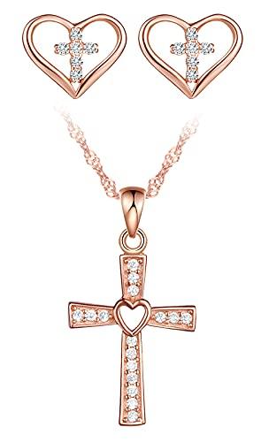 Yumilok Juego de joyas para mujer con collar y pendientes Hreuz colgante, cadena y pendientes en plata de ley 925 con corazón de oro rosa