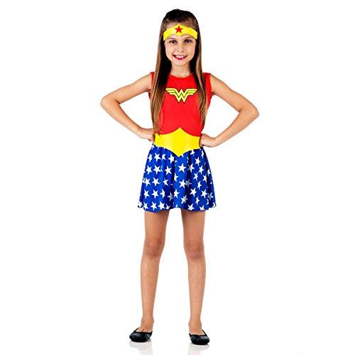 Fantasia Mulher Maravilha Pop Infantil 915061-g Sulamericana Fantasias Vermelho/azul/amarelo 10/12 Anos