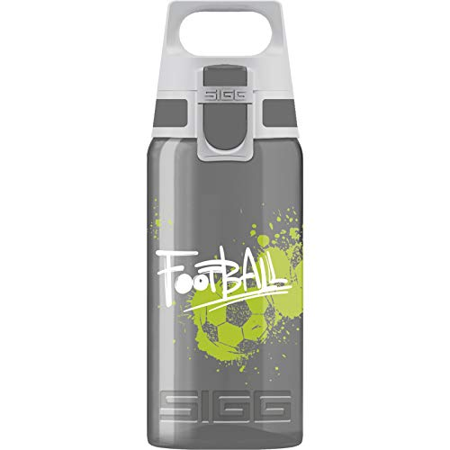 SIGG VIVA ONE Football Cantimplora infantil (0.5 L), botella transparente sin sustancias nocivas y con tapa hermética, cantimplora para niños para usar con una mano