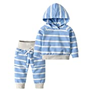 Derouetkia Toddler Infant Baby Boys Girls Stripe Long Sleeve Hoodie Tops Sweatsuit Pants Outfit Set (60(0-6 Months), Blue Stripe)