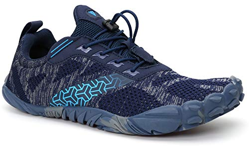 WHITIN Men's Trail Running Shoes Minimalist Barefoot 5 Five Fingers Wide Width Toe Box Gym Workout Fitness Low Zero Drop Male Yoga Zumba Comfortable Pilates Heel Blue Size 13