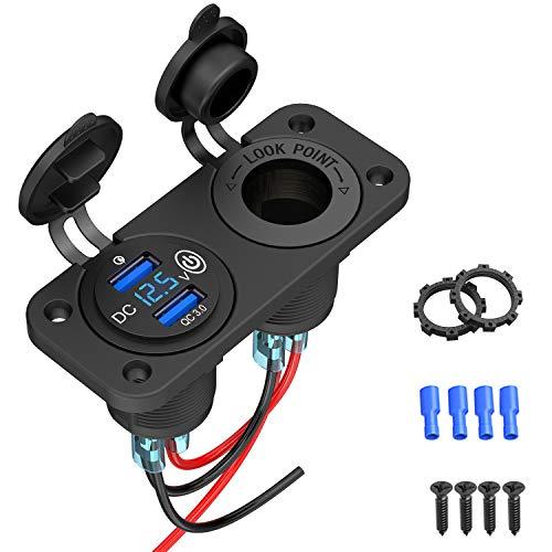 Enchufe USB 3.0 para coche con interruptor, 12 V, cargador USB empotrable, resistente al agua, encendedor de cigarrillos, lata con voltímetro LED, indicador de voltaje de 36 W