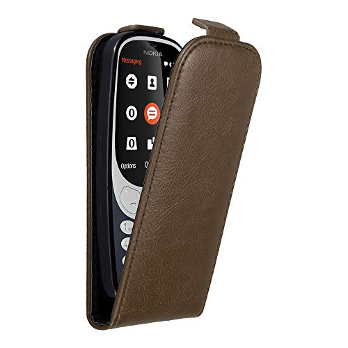 Cadorabo Hülle für Nokia 3310 in Kaffee BRAUN - Handyhülle im Flip Design mit unsichtbarem Magnetverschluss - Hülle Cover Schutzhülle Etui Tasche Book Klapp Style
