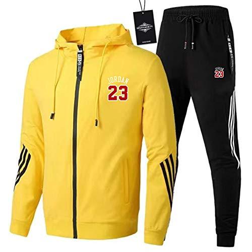 MAUXIAO de Los Hombres Chandal Conjunto Trotar Traje 2_3 Hooded Zipper Chaqueta + Pantalones Deporte X/Amarillo/XXL