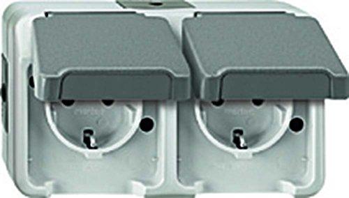 Merten MEG2328-8029 SCHUKO-dubbel stopcontact, verticaal geplaatst met BRS, lichtgrijs, AQUASTAR, grijs