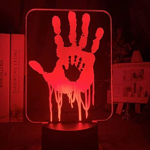 Lámpara de ilusión 3D Juego de luz de noche Led Death Stranding Hand Prints Decoración de dormitorio para niños Regalo de bebé Lámpara de mesa USB para jugadores