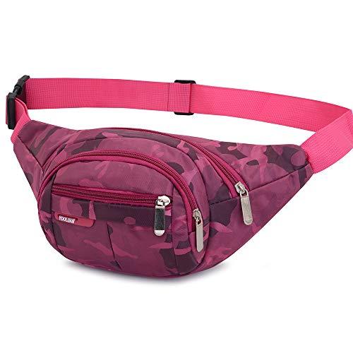 Yooluan wasserdichte Gürteltasche Bauchtasche 4 Reißverschluss Taschen Wandern Outdoor Sport Hüfttasche Urlaub Geld Pouch Pack (Rose Rot#1)