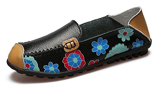 Eagsouni Damen Mokassins Bootsschuhe Leder Loafers Schuhe Flache Fahren Halbschuhe Freizeit Slippers
