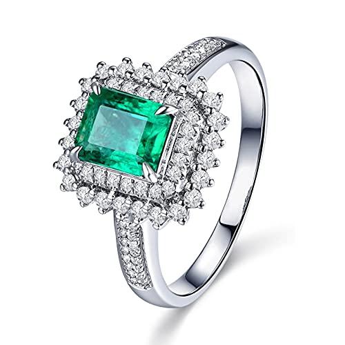 Amody Anillos Mujer Oro 18 Kilates, Anillos Matrimonio Diamante Flor con Esmeralda 1ct Tamaño 6,75