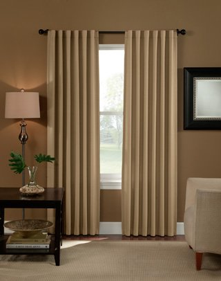 "Curtainworks Saville Solid Thermal Room Darkening Drape, 52 by 120"", Linen(Single Panel)"