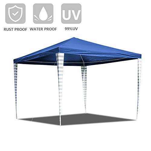 Hengda 3x 3 m Blue Garden Gazebo Marquee Awning Tent, UV Protection Party Tent for Outdoor Wedding Garden Party Camping, Easy to Install