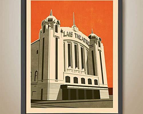AzSTEEL Palais Theatre. Art Deco. Icono de San Kilda. Teatro de Melbourne. | Cartel sin marco para decoración de oficina, el mejor regalo para familiares y amigos de 35 x 45 cm