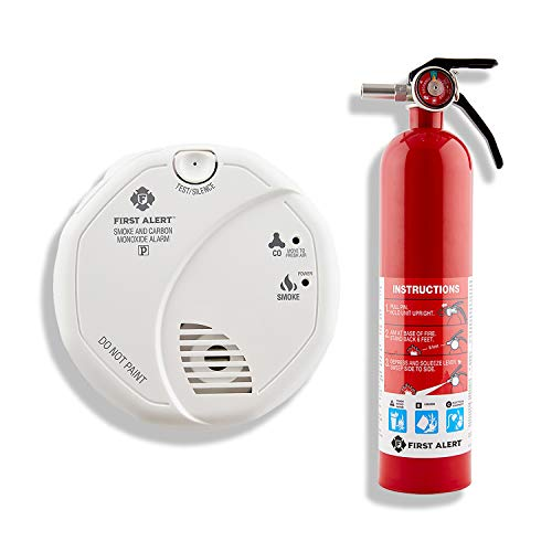 First Alert SCO5CN Battery Operated Combination Carbon Monoxide/Smoke Alarm with Home Fire Extinguisher, Red
