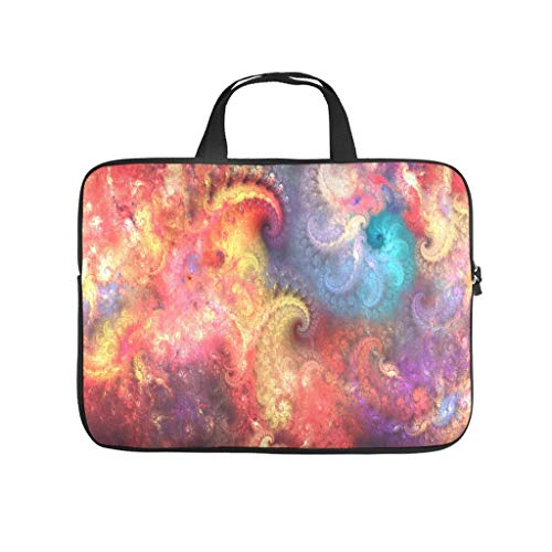 Colorful psychedelic fractal art Laptop bag Pattern Laptop Case Bag Colorful Water Resistant Laptop Sleeve with Portable Handle for Women Men white 15 zoll