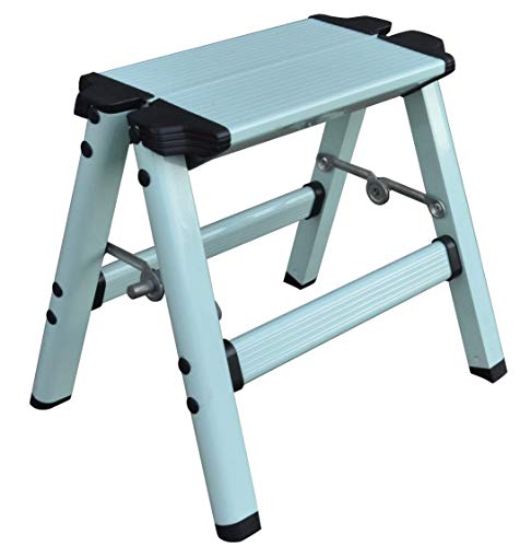 Elk & Bear Taburete plegable pequeño para adultos o niños, escalera de aluminio, ideal para cocina, baño, caravana, armario, garaje, jardín (azul)