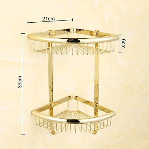 Or tout le trépied de salle de bains en bronze accrochant le panier de stockage de Triangle de 2 couches rayonne Rollsnownow