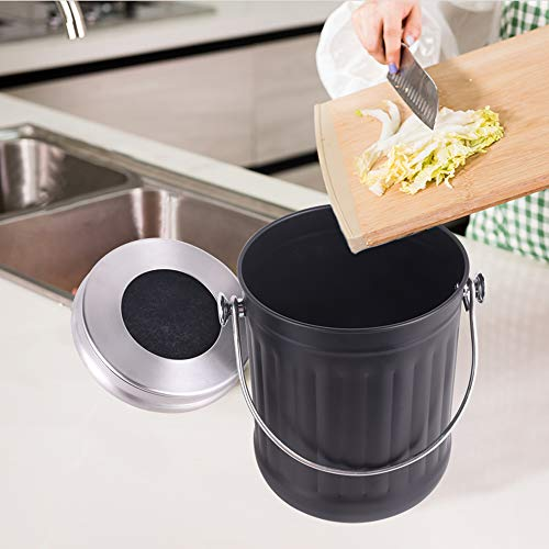 Mari-Chef-Indoor-Compost-Bin-Black-Stainless-Steel-Waste-Caddy-Composting-Storage-Bucket-Lidded-Carbon-Filtered-Odour-Control-System-5-Litre-Storage-28cm-High-18cm-Wide