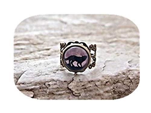 Leonid Meteor Wolfsring Wolfsring und Mond Ring verstellbar Wolf Ring Geschenk für Sie, Glasring