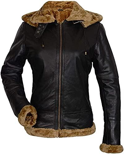 Chaqueta B3 para mujer Bomber Aviator Pilot extraíble con capucha piel de oveja piel marrón chaqueta de cuero - negro - X-Large