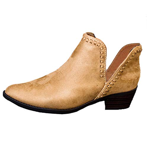 Minetom Damen Stiefeletten Mode Frühling Herbst Blockabsatz Shoes Retro Booties Chelsea Stiefel Casual Schuhe Khaki EU 38
