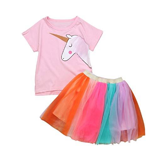 Camiseta con falda de tul, falda para niña, tutú, enagua de princesa, falda de ballet, color rosa, pony unicornio