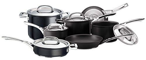 Circulon 61107 Infinite Saucepans, Stockpot, Saute and Frypans Set of 7 – Non-Stick-Stainless Steel lids-Hard Anodized Aluminium Cookware, Aluminum, Black