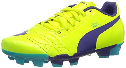 PUMA EvoPower 4 FG Jr, Unisex-Kinder Fußballschuhe, Orange (Fluro Yellow-Prism Violet-Scuba Blue 04), 37 EU (4 Kinder UK)
