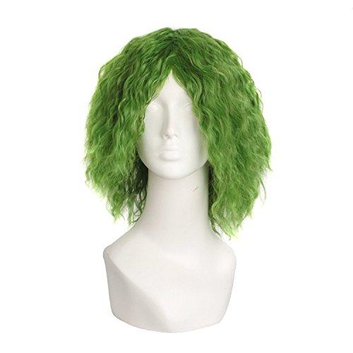 MapofBeauty 14 Pulgada/35cm moda de cosplay rizo Pelucas (Mezclada verde)