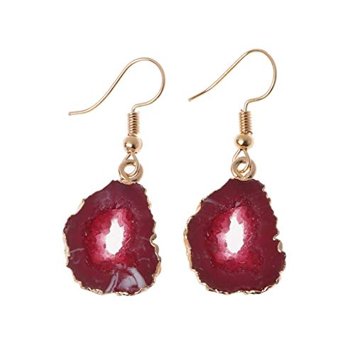 KOFUN - Pendientes de gota de piedra druzy para mujer irregular, cuarzo natural, geoda, joyería de cristal púrpur