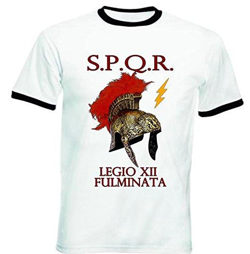 teesquare1st SPQR LEGIO XII FULMINATA Roman Empire - Tshirt de Hombre con Bordes Negros Tshirt