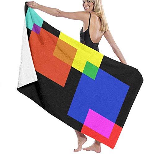 Toallas de Playa de Microfibra con patrón de rectángulos de Colores Toallas de Piscina de SPA súper absorbentes de Secado rápido para Nadar al Aire Libre