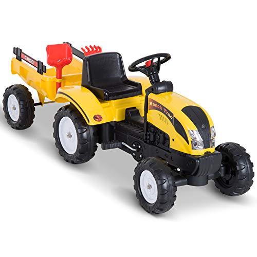 Homcom Tracteur à pédales Ranch Trac avec remorque Pelle et rateau Jeu de Plein air Enfants 3 à 6 Ans Jaune Noir