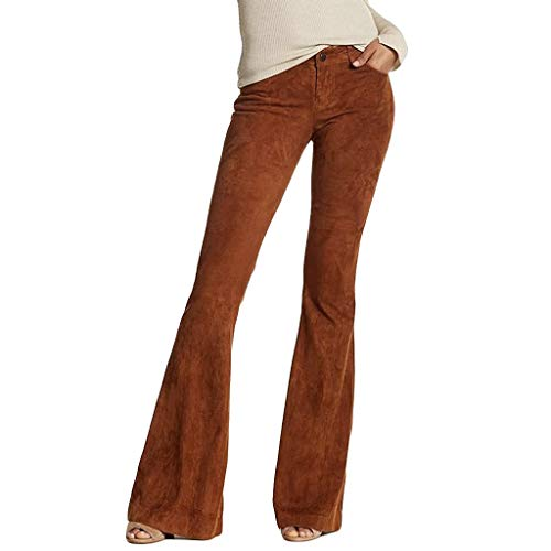 Lazapa Casual Pants for Women, Fall Winter Stretch Slim Tassel Corduroy Flare Jeans Button Zipper High Waist Bell Bottom Brown