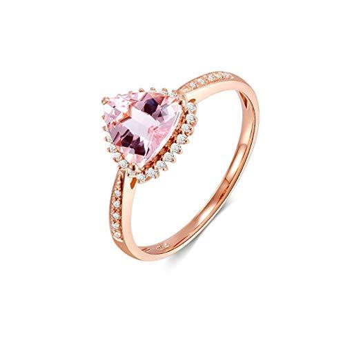 AueDsa Ringe Rosegold Damen 18 Karat (750) Rotgold Ring Dreieck Morganite Pink Claro Weiß 0.9ct Größe 53 (16.9)