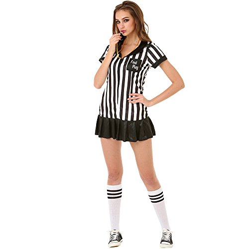 Risque Referee Women's Halloween Costume Sexy Sports Ref Ump Skirt Outfit, White, Medium