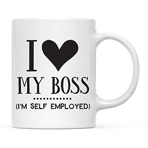 Taza de café divertida, regalo con texto en inglés 'I Love My Boss', 1 paquete, ideas de regalo de cumpleaños y Navidad