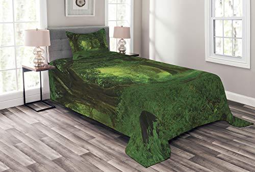 ABAKUHAUS Natur Tagesdecke Set, Tropische Dschungel Bäume, Set mit Kissenbezug farbfester Digitaldruck, für Einzelbetten 170 x 220 cm, Grün