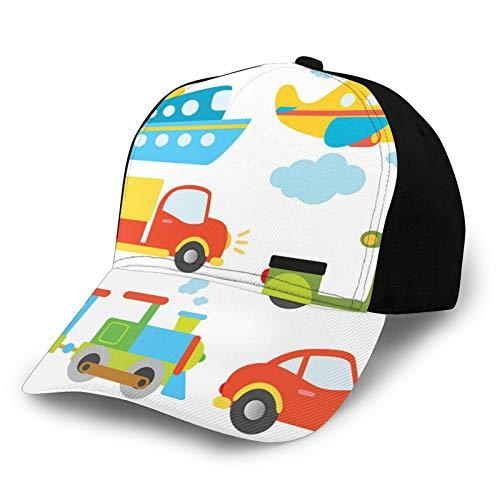FULIYA Gorra de béisbol estructurada, tipo abstracto de transporte para niños pequeños, coche, barco, camión, scooter, tren, avión, papá, sombrero para hombres y mujeres, perfil bajo ajustable