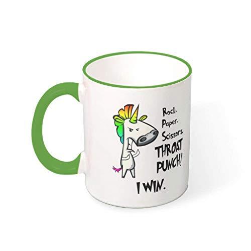 XJJ88 Rock Paper Schaar Keel Punch Eenhoorn Witte Dranken Koffie Mokken met Handvat Keramische Fun Mokken - Meisjes, voor Thuisgebruik (11 Ounce)