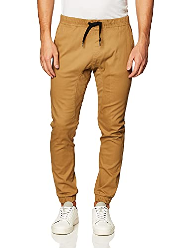 Southpole Men's Basic Stretch Twill Jogger Pants-Reg and Big & Tall Sizes, Tobacco, X-Large