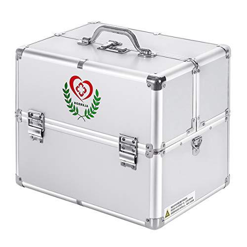 Youngshion Erste-Hilfe-Koffer mit Schultergurt und Zahlenschloss 18-inch silber